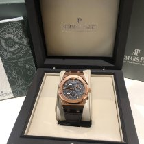 Audemars Piguet Royal Oak Dual Time Rose gold 39mm Black No numerals