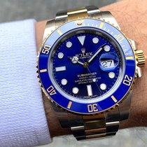 Rolex Submariner Date Zlato/Ocel 40mm Modrá Bez čísel