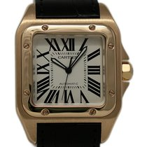 Cartier Rose gold Automatic White 41mm pre-owned Santos 100