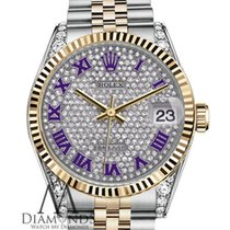 Rolex Purple Rolex Datejust Pave Diamond Dial Stainless Steel...