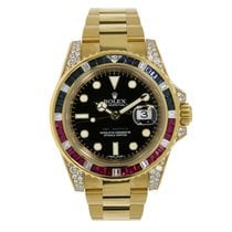 Rolex GMT-MASTER II Yellow Gold Black Dial Diamond Bezel...