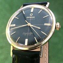 Omega Seamaster De Ville Black dial crosshair gold cap watch +...