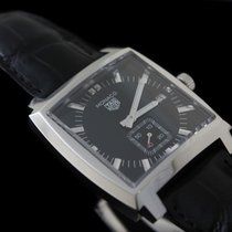 TAG Heuer Monaco Lady pre-owned 37mm Black Date Crocodile skin