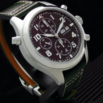 IWC Pilot Double Chronograph Staal 44mm Bruin Arabisch