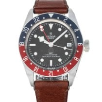 Tudor Black Bay GMT pre-owned 41mm Black Date GMT Leather