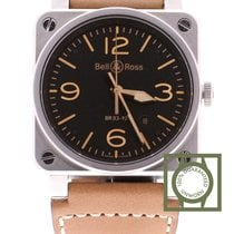 Bell & Ross Aviation Gold Heritage Black Dial Leather Strap