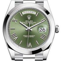 Rolex Day-Date 40 Platine 40mm Vert Romains