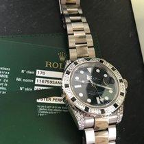 Rolex GMT ORO BIANCO CON GHIERA  DIAMANTI E ZAFFIRI REF...