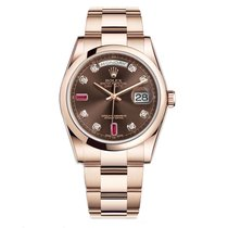 Rolex DAY-DATE 36mm Rose Gold Chocolate Ruby Diamond Dial 118205