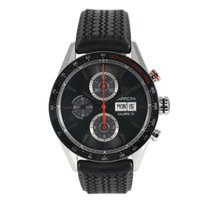 TAG Heuer Steel Automatic Black 44mm pre-owned Carrera Calibre 16
