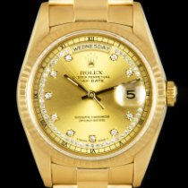 Rolex Day-Date 36 Geelgoud 36mm Champagne Geen cijfers
