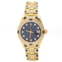 Rolex Or jaune Remontage automatique Bleu 26mm occasion Datejust