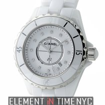 Chanel J12 White Ceramic 33mm Quartz White Diamond Dial