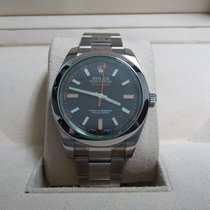 Rolex Milgauss Stainless Steel/Black Dial/Green Crystal