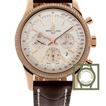 Breitling Transocean Chronograph Pink Gold Diamond Croco