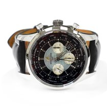 Breitling Transocean Chronograph Unitime pre-owned 46mm Black Chronograph Date Leather