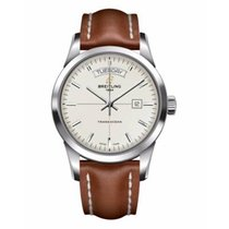 Breitling Transocean Day & Date Steel 43mm Silver No numerals