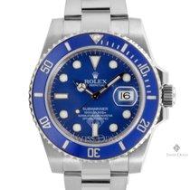 Rolex Submariner White Gold Blue Dial Ceramic Blue 60min Bezel...