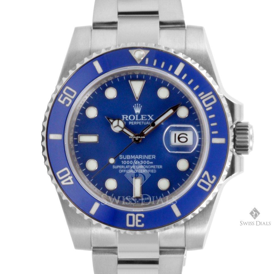 Rolex Submariner White Gold Blue Dial Ceramic Blue 60min ...