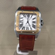 Cartier Santos 100 pre-owned 38mm White Double-fold clasp