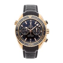Omega Rose gold Automatic Black No numerals 45.5mm pre-owned Seamaster Planet Ocean Chronograph