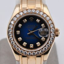 Rolex Lady-Datejust Pearlmaster Or jaune 29mm Bleu Sans chiffres