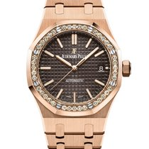 Audemars Piguet Rose gold Automatic Brown No numerals 37mm new Royal Oak Lady