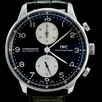 IWC Portuguese Chronograph Сталь 41mm Чёрный Aрабские
