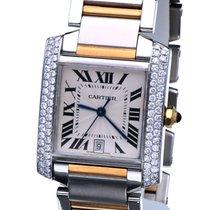 Cartier Tank Francaise Gold Steel Guilloche Dial Diamonds...