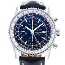 Breitling Navitimer World pre-owned 46mm Black Date Leather
