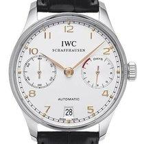IWC Portugieser Automatik gebraucht 42.3mm Weiß Chronograph Leder