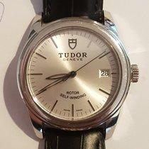 Tudor Glamour Date pre-owned 36mm Silver Date Crocodile skin