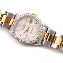 Rolex Mens 18K/SS Datejust - MOP Diamond Dial - Diamond Bezel...