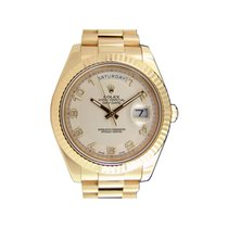 Rolex DAY-DATE II 41mm Yellow Gold White Ivory Arabic  Dial Watch
