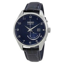Seiko Kinetic Blue Dial Men's 42mm Leather Watch SRN061P1