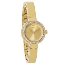 Movado Bold Ladies Diamond Gold Tone Bangle Swiss Quartz Watch...