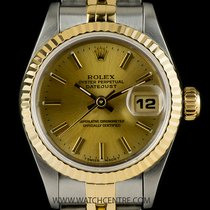 Rolex Steel & Gold O/P Champagne Baton Dial Datejust...