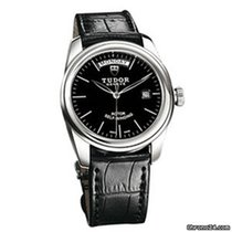 Tudor Glamour Date-Day 56010N -  Glamour Day-Date 39 Mm Tudor Black Leather Strap 2020 new