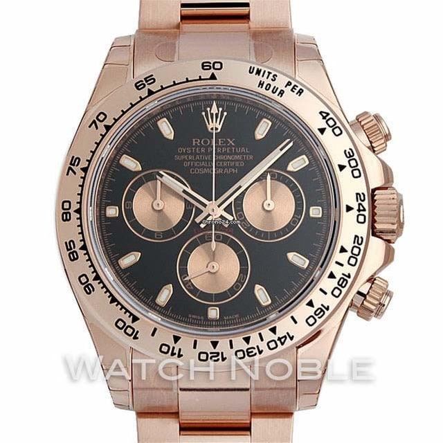 Rolex Daytona Chronograph 18K Black Dial Mens Watch 40mm