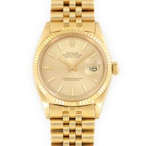 Rolex Yellow gold Automatic Champagne 36mm pre-owned Datejust