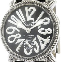 Gaga Milano Polished Gaga Milano Manuale 48 Diamond Steel Mens...