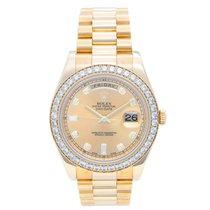 Rolex Day-Date II Diamond & 18k Yellow Gold Men's...
