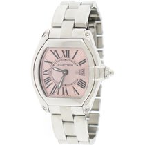 Cartier Roadster Ladies Small Pink Sunray Roman Dial Steel...