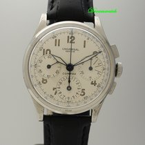 Universal Genève Chronograph 33mm Handaufzug gebraucht Compax Silber