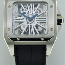 Cartier Santos 100 pre-owned 54.9mm Transparent Crocodile skin