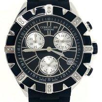 Cerruti 1881 Diamonds Watch Black Silver Tone Silicone Strap