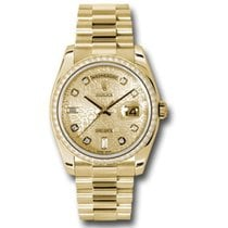 Rolex Yellow gold Automatic Champagne 36mm new Day-Date 36