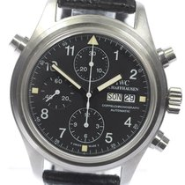 IWC Pilot Double Chronograph pre-owned 42mm Black Double chronograph Date Weekday Leather