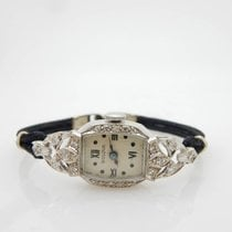 Bulova 17j 5AH Solid 14K White Gold 0.25cttw Diamond 16mm Watch