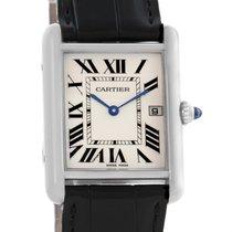 Cartier Tank Louis Large White Gold Black Strap Unisex Watch...
